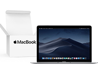 "Front view of 12"" MacBook with Open Box inset"