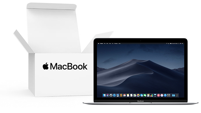 "Apple MacBook 12"" Front View in Silver with Open Box inset."