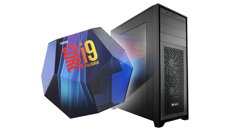 Front view of our Custom PC with the Core i9 Logo