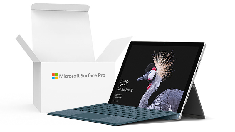 Acute angle view of the Surface Pro 5 with box inset