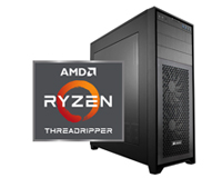 Front view of our Custom PC with the Ryzen logo
