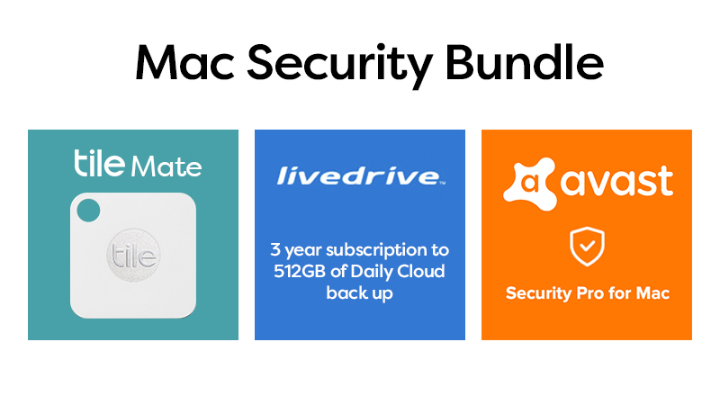 MAC Security Bundle Displaying Icons for Tile Mate, Livedrive & Avast