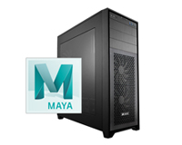 Side view of Custom PC with AutoDesk Maya Logo inset.