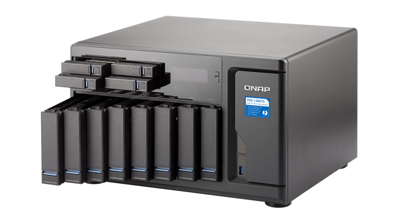 Front view of the QNAP TVS-1282T3 with all HDD/SSD bays open