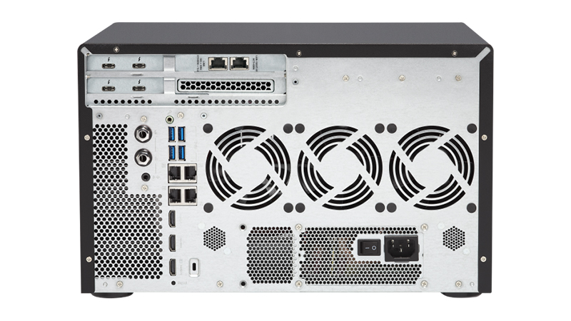 Rear view of the QNAP TVS-1282T3