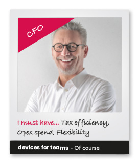 Subscribe to a new way of thinking - Devices for Teams. Photo of a CFO