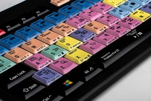 Logickeyboard with software specific shortcuts for Adobe Premiere Pro and AutoDesk Maya