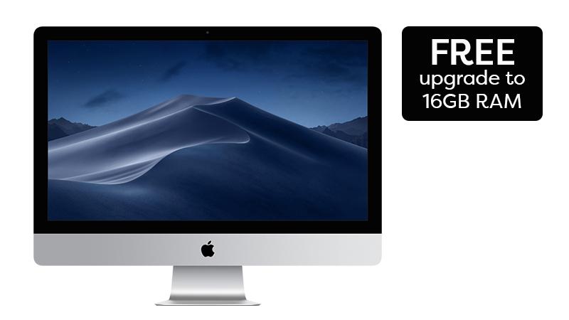 iMac Apple Desktop Front View showing free upgrade to 16GB RAM
