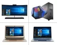 PC Device Leasing Category. Inset Laptop1, Laptop 2, All-in one Desktop & Custom built i9 PC
