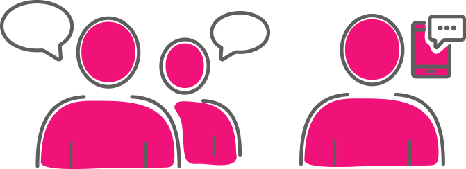 Devices for Teams Pink Cartoon People Talking with empty speech bubbles