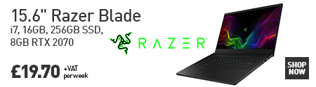 "Razer Blade 15.6"" 256GB Side/Open view and price located on the left"