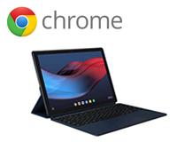 The Google Pixel Slate & inset Chrome logo