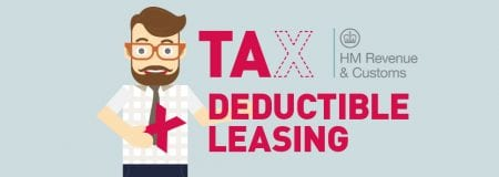 Animated Man holding the X from the word Tax Deductible Leasing