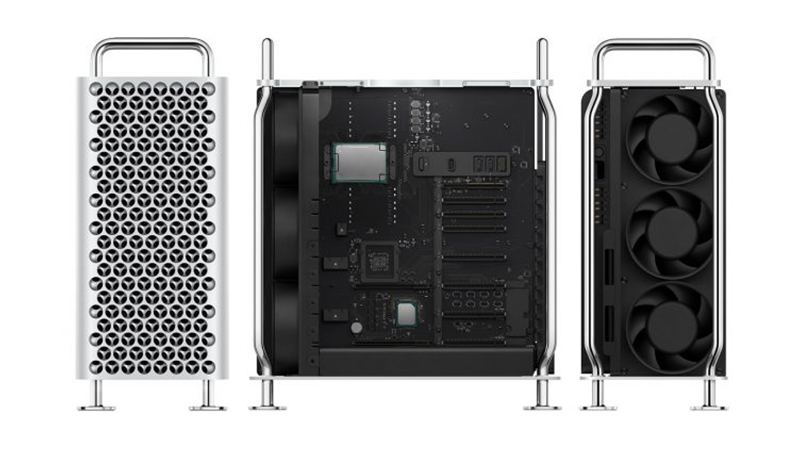 Front/Side/Open view of the new Apple Mac Pro 2019