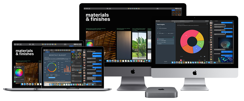 Different Apple products Front view showing four iMacs and one Apple TV