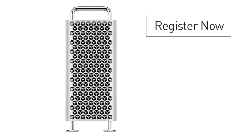 Front view of Mac Pro - Register Now