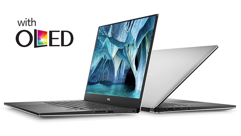 Left-Facing Dell-NEW-XPS-15-OLED, open, and right-facing Dell-NEW-XPS-15-OLED, half-closed