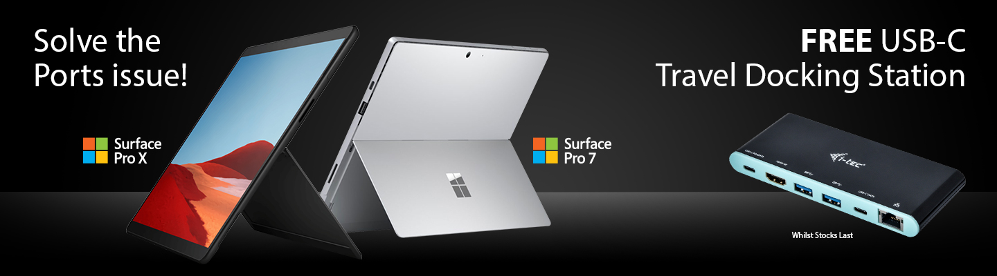 The Surface Pro Range including the Surface Pro 7 & X with FREE i-Tec Dock from HardSoft.