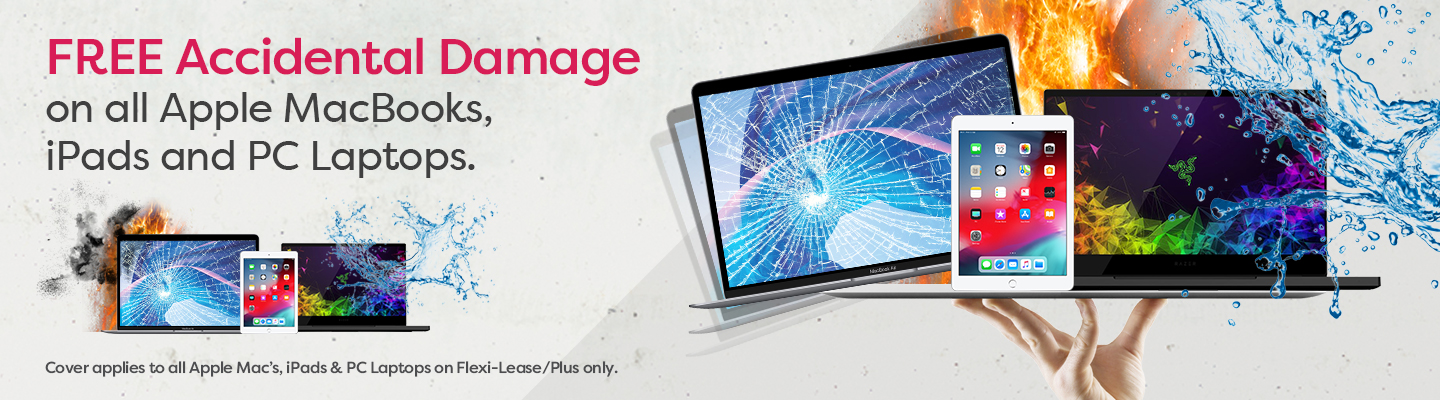 Free accidental damage cover on Apple MacBooks, iPads, and PC Laptops