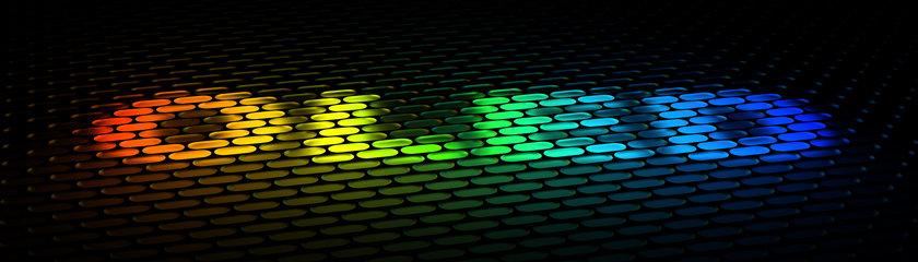OLED in coloured pixels on black background