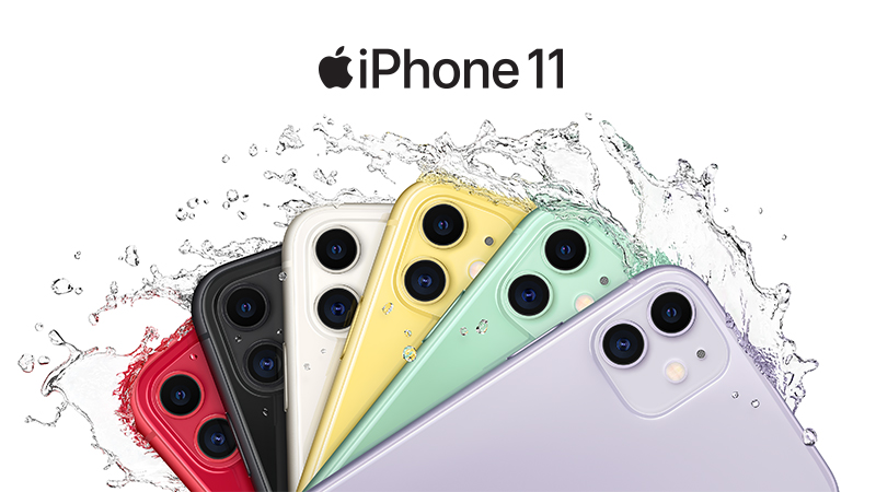 Apple iPhone 11 back all colours shown in sync with water splash