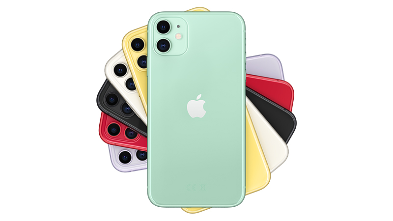 iPhone 11 back of phone view of all the colours