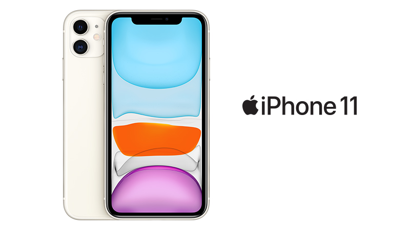 iPhone 11 Front and back view in White