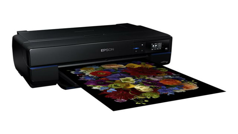 Epson A2 SC-P800 Desktop Photo Printer front side view with printout
