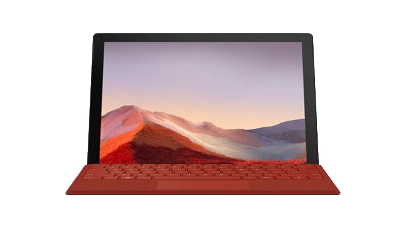 Microsoft Surface Pro 7 with Poppy Red Type Cover - Front View