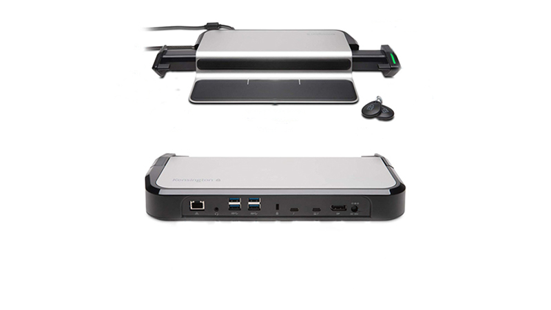 Kensington Thunderbolt 3 4K Docking Station front and back view showing ports and key fob