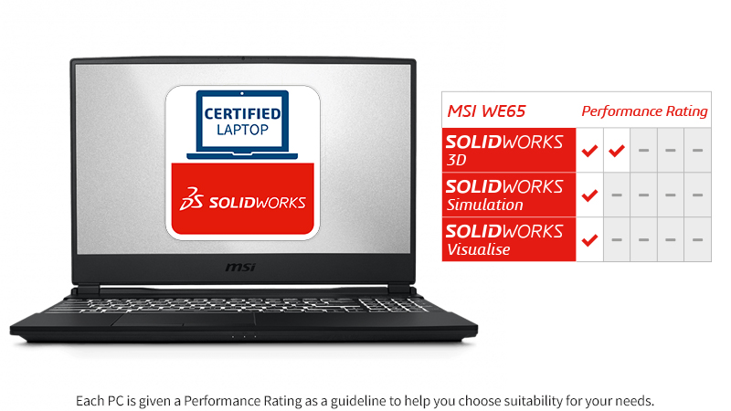 MSI WE65 Mobile Workstation Certified Laptop for SOLIDWORKS and Performance Rating for SOLIDWORKS