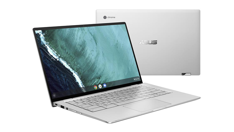Asus Chromebook Flip front view and back view