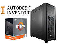 AutoDesk Inventor Logo with Ryzen Threadripper box & PC Case
