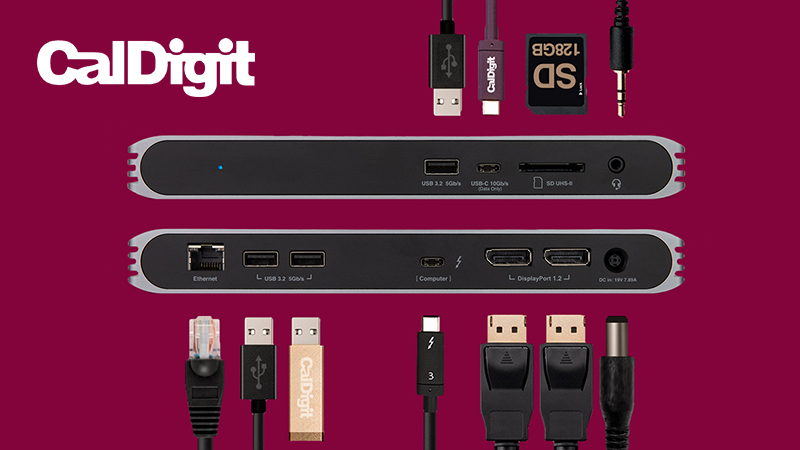CalDigit USB-C Pro Dock view of ports and the different cables that fit