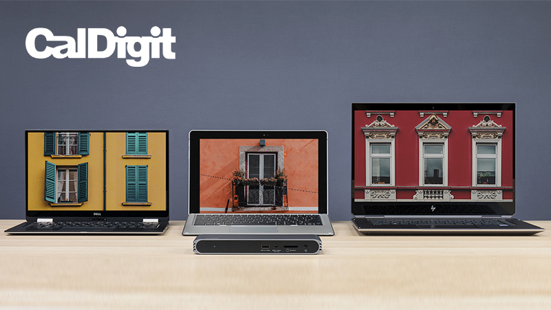 CalDigit USB-C Pro Dock shown with different laptops