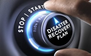 Disaster Recovery Plan on a knob with Stop/Start above