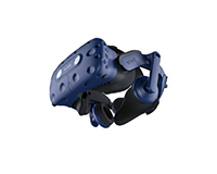 HTC Vive Pro Eye with headphones and front visor