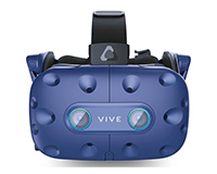 HTC VIVE Pro Eye front view with headphones
