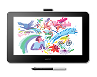 Wacom One tablet front screen view with pen