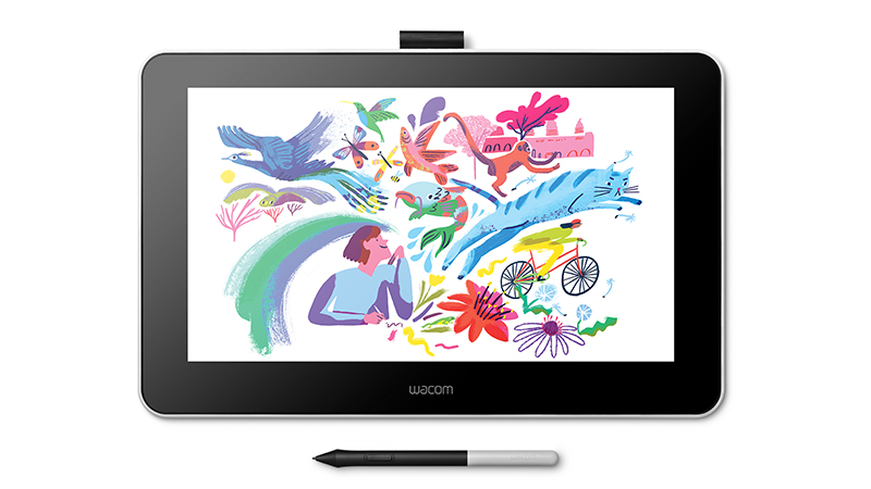 Wacom One front display with pen