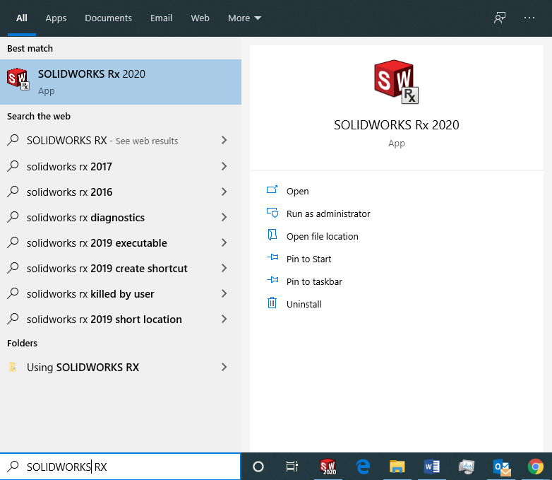 Using the Windows search bar to open SOLIDWORKS RX