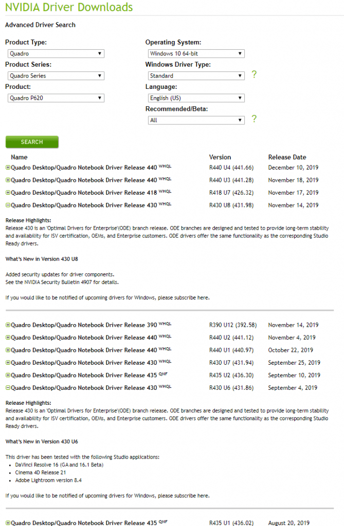 NVIDIA driver download page, with 430 series selected