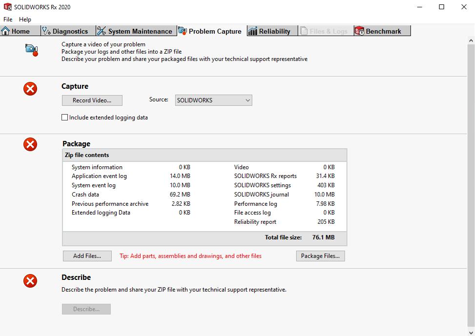 SOLIDWORKS RX 2020 problem capture tab interface