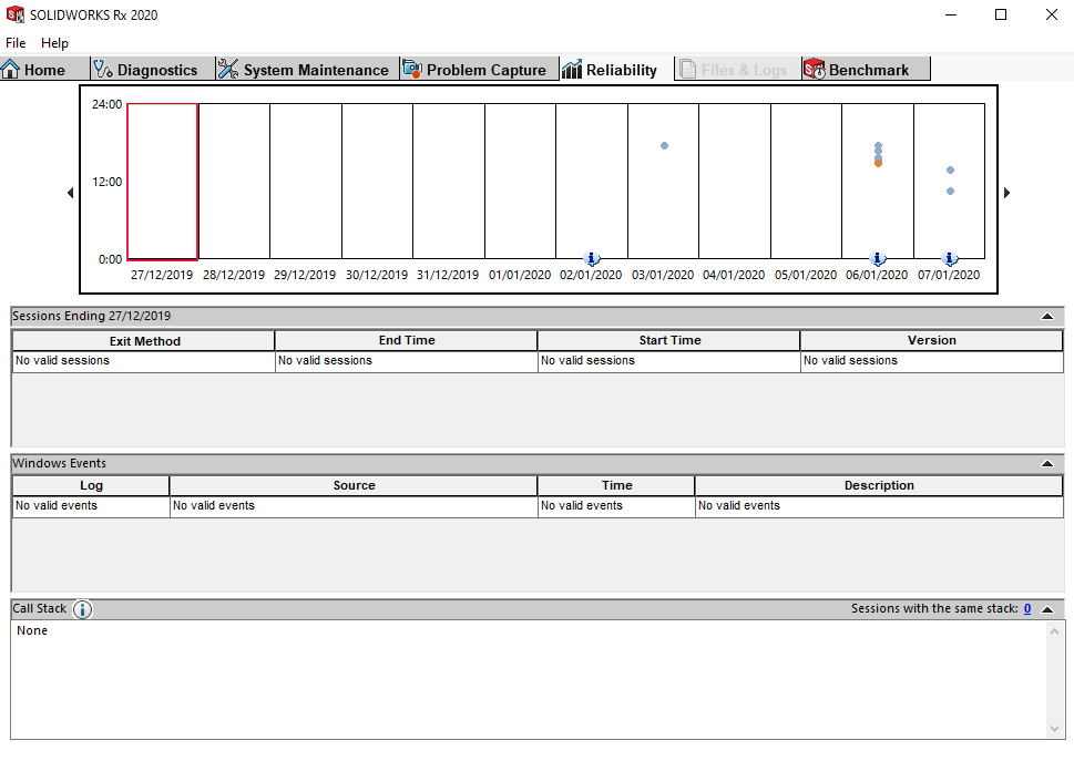SOLIDWORKS RX reliability tab interface example