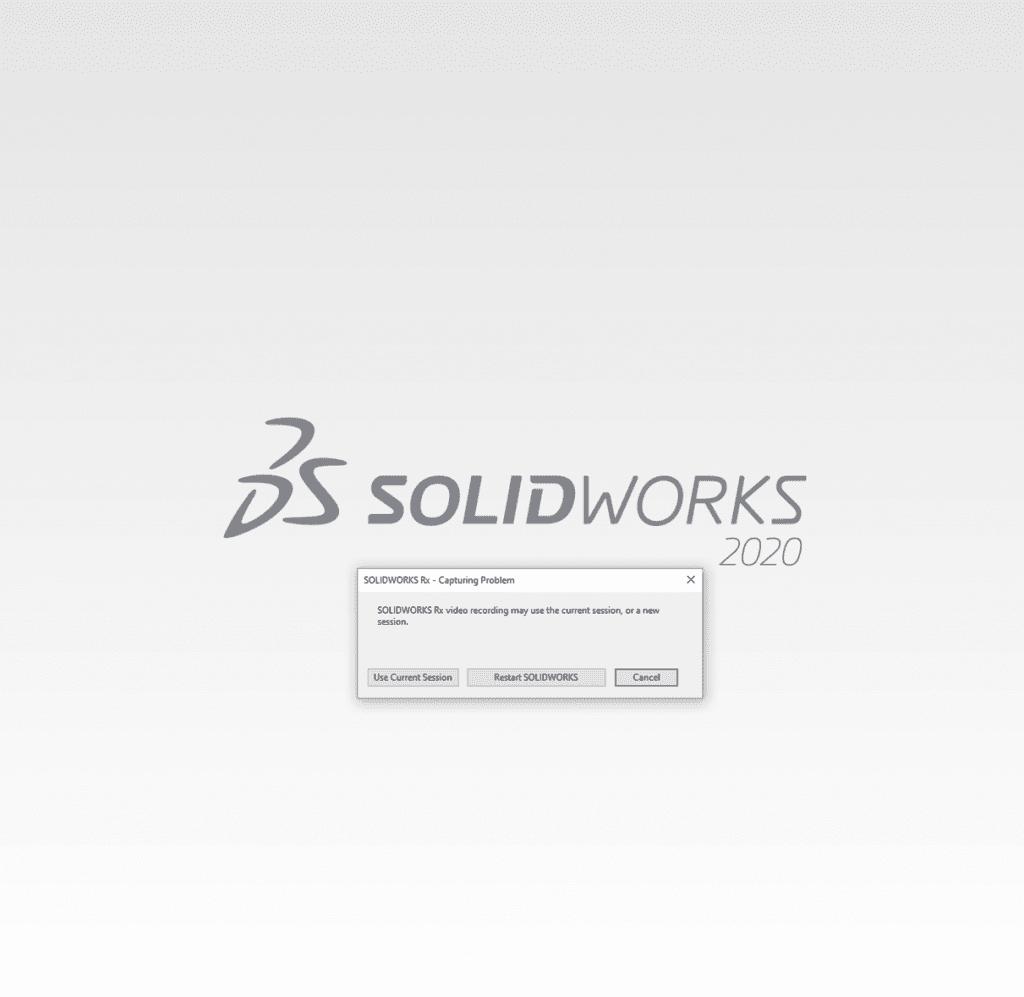 SOLIDWORKS RX step one capture problem record menu