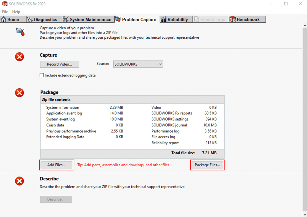 SOLIDWORKS RX capture problem tab, stage 2, package