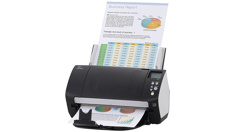 Fujitsu FI-7160 scanner front view with documents in the feeder being scanned