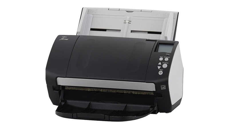 Fujitsu FI-7160 scanner front view with document feeder showing