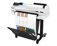 HP DesignJet T530 printer front view with A3 sheet showing with stand