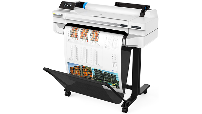 HP DesignJet T530 printer view with sheet of A3 with stand